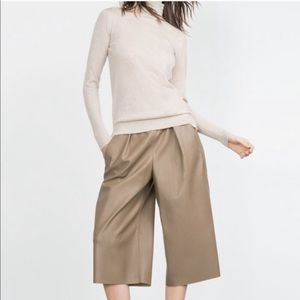 Zara Faux Leather Culottes Cropped Pants